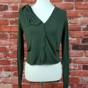 Loden Cardigan Cashmere Blend Bow CAbi 639 S
